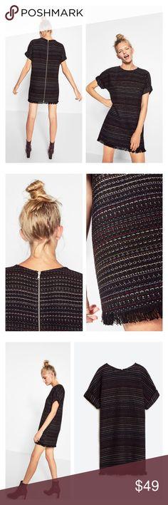 "zara • frayed straight cut back zipper dress • xl Like new condition. Such a cool dress! Tweed texture. UA to UA 24"", length 34.5"". Will fit Large, too. Zara Dresses Mini"