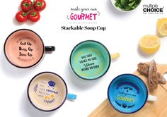 Colorful Scandi Soup Mugs from MultipleChoice by topchoice for SillyDesign Polnad, unique gift, incentive phrases, retro colors, high-quality porcelain, scandinavian soup mug, price 9€