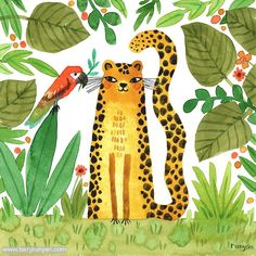 """Terry Runyan Art & Creativity on Instagram: """"Jungle Love! World Jungle Day is the prompt for today at the Daily Creating Group. Come join us! Prompts are optional. Link in bio. . . .…"""" Jungle Love, Best Friend Day, Tiger Art, Cat Colors, Small Art, Ink Art, Watercolor Illustration, Illustrators, Original Artwork"""