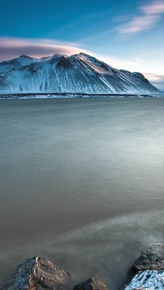 Iceland scenery, sea, snow-capped mountainshttp://iwall365.com/All_iPhone_wallpapers/page/2