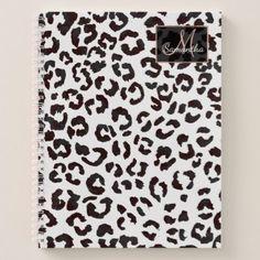 Modern trendy brown watercolor leopard pattern notebook - patterns pattern special unique design gift idea diy