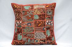 Indian Patchwork 16'' Red Decorative Couch Pillow Cushion Cover Sofa Decor
