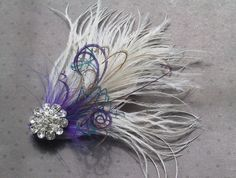 Bridal, Facinator, Accessories, Feather, Hair, clip, Wedding, Accessory, purple, teal, blue, brown, wedding, white - WHITE PURPLE PASSION