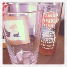 Kombucha Wonder Drink - Essence of Mango Kombucha Brands, Kombucha Recipe, Fermented Tea, Lotions, Pint Glass, Mango, Drinks, Bottle, Tableware