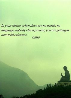 In your silence--when there are no words, no language, nobody else is present--you are getting in tune with existence. ~ Osho ~