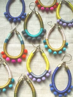 Design Your Own AVIVA Earrings--Cotton Floss, Hand Felted Wool Pom Poms--Bright and Colorful. $25,00, via Etsy.