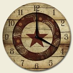 Round Wooden Wall Clock Rustic Rodeo Texas Kitchen Decor, in Western Living Rooms, My Living Room, Country Living, Country Decor, Rustic Decor, Lorie, Southwestern Home Decor, How To Make Wall Clock, Rustic Wall Clocks