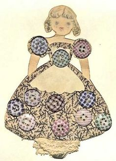 Card with Collection of  Vintage Calico Buttons on Little Girl in Fabric Dress