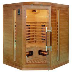 Sauna narożna dla 4 osób, wyposażona m.in. w koloroterapię, radio z mp3, jonizator powietrza, itd.