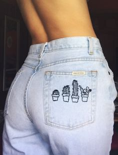 High waisted / Embro / cactus bohemian casual /