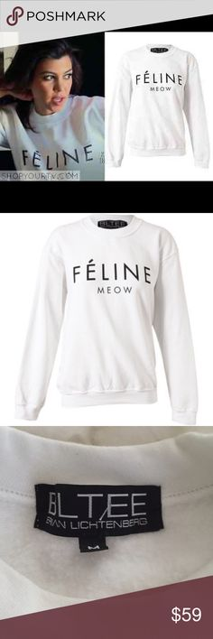 "Brian Lichtenberg Feline Meow White Sweatshirt M Brian Lichtenberg Feline Pullover Sweatshirt recalls a badazz designer fashion label but keeps it kitty with ""FÉLINE"" written in all caps and ""MEOW"" pasted below it. This purrfect pullover is made from a madd soft cotton blend with ribbed crew neckline, cuffs and hem to keep it nice 'n comfy. Get inspired from all the celebs rockin' his shit right meow and take to the streetz wearin' this Brian Lichtenberg sweatshirt! Never worn size medium…"