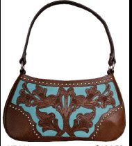 blue and brown tooled leather handbag