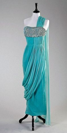 Madame Grès turquoise blue draped chiffon cocktail gown, late 1950s