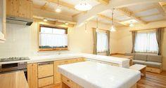 無垢材ONLY3階建自然派住宅 « 合板を使わない、本物の自然素材の家 森びとの会 Corner Bathtub, Alcove, Bathroom, Kitchen, Washroom, Cooking, Corner Tub, Bathrooms, Bath