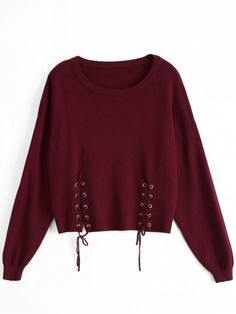 Shop for Loose Drop Shoulder Lace Up Sweater WINE RED: Sweaters ONE SIZE at ZAFUL. Only $26.49 and free shipping!