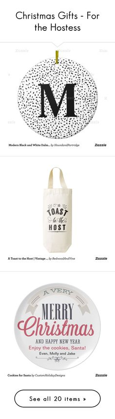 """Christmas Gifts - For the Hostess"" by zazzle ❤ liked on Polyvore featuring home, home decor, holiday decorations, kitchen & dining, bar tools, kitchen linens, wall art and throw pillows"