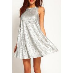 Vogue Round Collar Silver Sleeveless Dress For Women