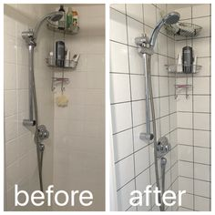 Regrouting With Dark Grey Grout To Modernise A Boring Shower/ Working With  Current Square Tiles And Adding On In Shower