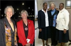 Left, Sr. Marie Zarowny stands with Judith Guichon, the Lieutenant-Governor of British Columbia, in September 2013. Right, Sr. Marie Zarowny stands between two Sisters of St Ann from Haiti during a visit to Lachine in November 2014. (Courtesy of Sisters of St. Ann)