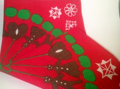 60s Swedish table cloth for christmas. Retro Vintage. Really bright colours, in good condition