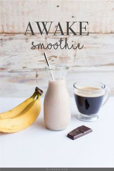 AWAKE SMOOTHIE - 4 Dark Chocolate Squares; 1 Banana; ¼ Cup of Oats; 2 Scoop of Greek Yogurt; 1 Tbsp Peanut Butter; 1 Tbsp Maple Syrup; 1/2 Cup Coffee; Ice