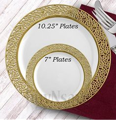 buyNsave White with Gold Heavyweight Plastic Elegant Disposable Plates Wedding Party Elegant Dinnerware Inspiration  sc 1 st  Pinterest & 10.25\