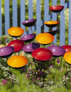 Poppy Sways Trio of Colors, Set of 15...really cute for the garden and a bit functional as well:)