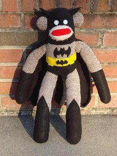 BATMAN! ok really?? A Batman sock monkey..?? I am loving this!!