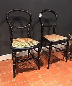 Chairs 1900-1950 Straightforward Pair Antique Chairs 2 Stick Form Bedroom Chairs Edwardian Sufficient Supply