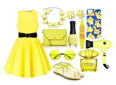 """yellow"" by vviolet ❤ liked on Polyvore featuring DKNY, Ruby Rocks, AQ/AQ, MANGO, Marc by Marc Jacobs, ZeroUV, Maybelline, Versace, Eva NYC and ORLY"