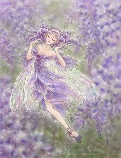 Free Shipping to US - Wisteria Fairy with Iridescent Wings Fantasy Art - Wisteria - 8x10 Signed Fantasy Art Print - by Mitzi Sato-Wiuff on Etsy, $24.53 CAD