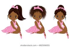 Illustration of Vector cute little African American ballerinas with various hairstyles. Vector ballerinas in pink tutu dresses. African American ballerinas vector illustration vector art, clipart and stock vectors. Tutu Dresses, Pink Tutu Dress, Hair Vector, Chocolate Babies, Beautiful Black Girl, Birthday Shirts, 50th Birthday, Free Illustrations, Silhouette Projects