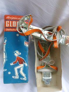 Alte Gloria Gleitschuhe. Viele Runden auf dem gefrorenen Schloßteich gedreht.