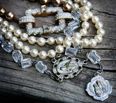 Evangeline - Vintage Rosary, Pearls, Rhinestone - Multi-Layered Necklace Upcycled Assemblage Jewelry