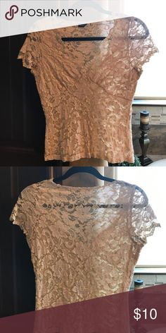 Lace top Lace top beige and a faint pink. Super cute great cond normal wear no tears snags scent. kay celine Tops Blouses