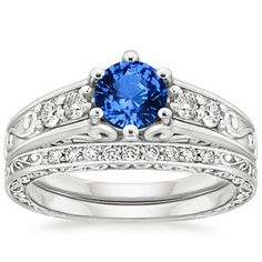 18K White Gold Sapphire Art Deco Filigree Diamond Ring with Contoured Delicate Antique Scroll Ring (1/3 ct. tw.)