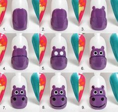 Adventures In Acetone: Tutorial Tuesday: Hippo Nail Art! Pyatt do this to my nails Cute Nail Art, Nail Art Diy, Easy Nail Art, Simple Nail Art Designs, Cute Nail Designs, Love Nails, My Nails, Animal Nail Art, Nail Art Designs