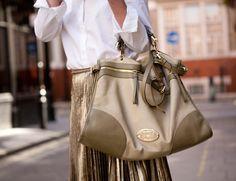 Mulberry Taylor, gold skirt, crisp white shirt....from elleuk.com