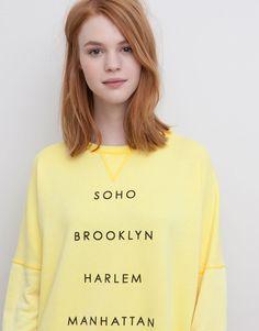 Pull&Bear - femme - sweat - sweat print - jaune - 05590362-V2015
