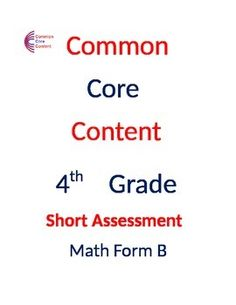 math worksheet : common core math assessment 4th grade  standards based  : Math Assessment Worksheets
