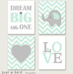 Vivero de elefante set imprimible, menta verde vivero decoración, decoración de…