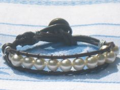 leather and pearl beaded cuff bracelet $15.00