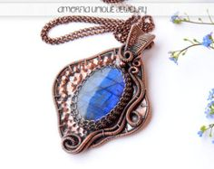 Handmade  sterling silver  labradorite pendant by amorfia on Etsy