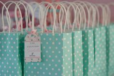 Shabby Chic first birthday party bags to fill with candy.