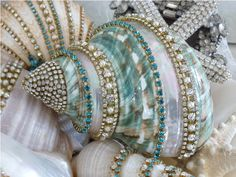 Sparkling Treasure From The Sea in Aqua  From The Collection  By Debbie Del Rosario-Weiss,