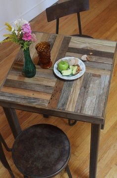 Reclaimed wood bistro kitchen table handmade by Matt and Sarah Rink #reclaimed