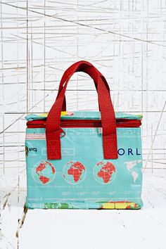 Insulated Lunch Bag in Map Print