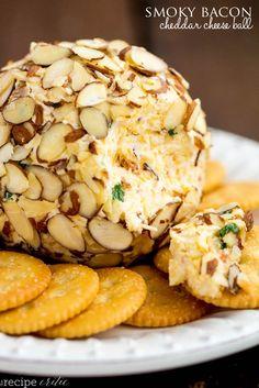 Smoky Bacon Cheddar Cheese Ball http://therecipecritic.com/2014/12/smoky-bacon-cheddar-cheese-ball/