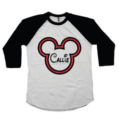 Mickey Mouse Personalized Shirt For Girls - Glitter Disney Raglan Tee with Girl's Name Red Glitter