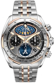 Citizen Signature Eco-Drive Flyback Moonphase Mens Watch AV3006-50H